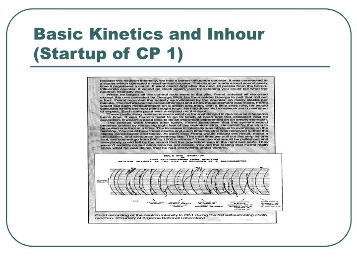 Basic Kinetics and Inhour (Startup of CP 1)