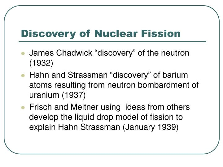 Discovery of nuclear fission