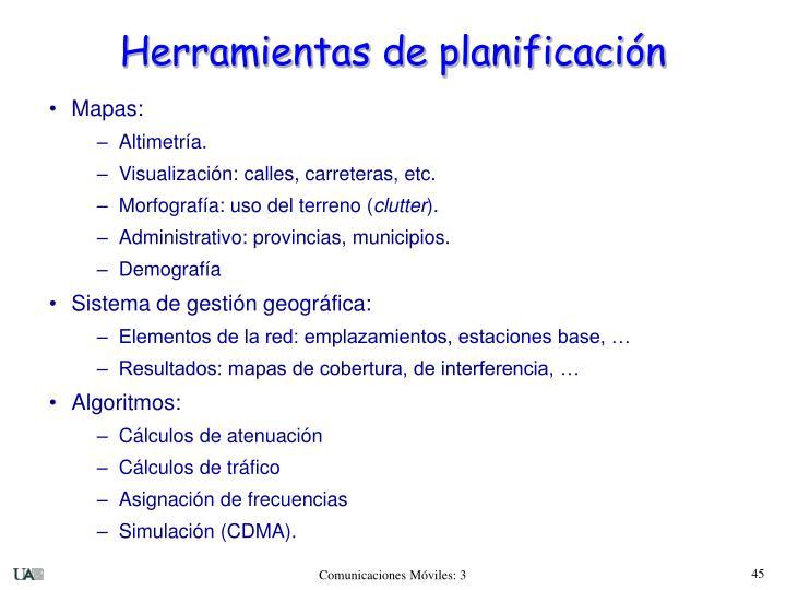 Herramientas de planificación