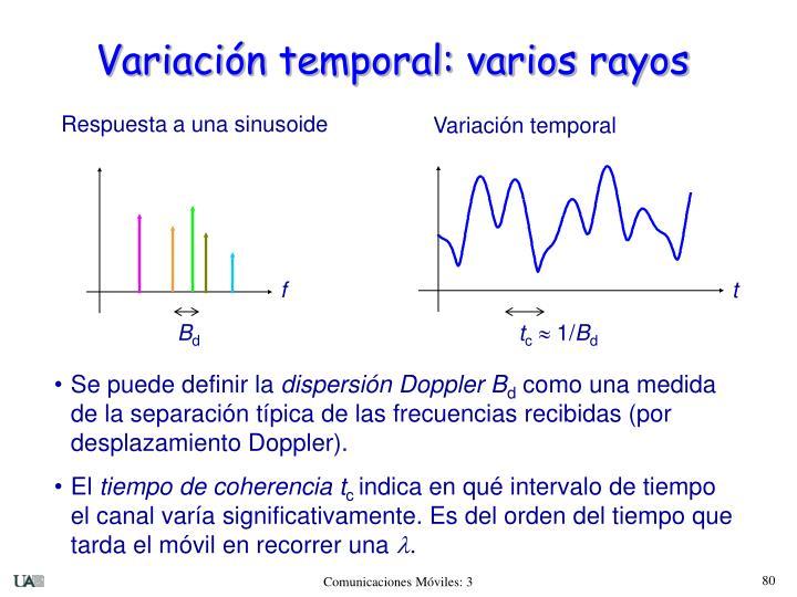 Variación temporal: varios rayos