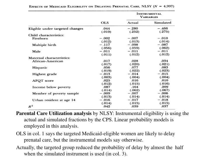 Parental Care Utilization analysis