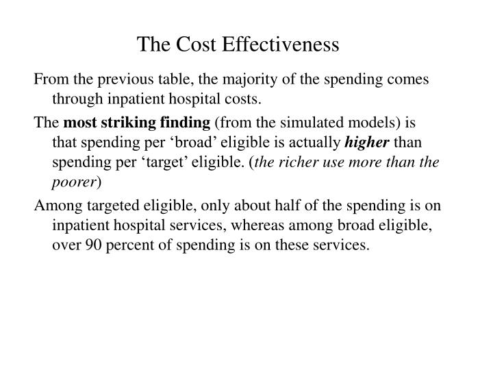 The Cost Effectiveness