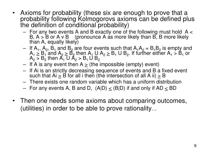 Axioms for probability (these six are enough to prove that a probability following Kolmogorovs axioms can be defined plus the definition of conditional probability)