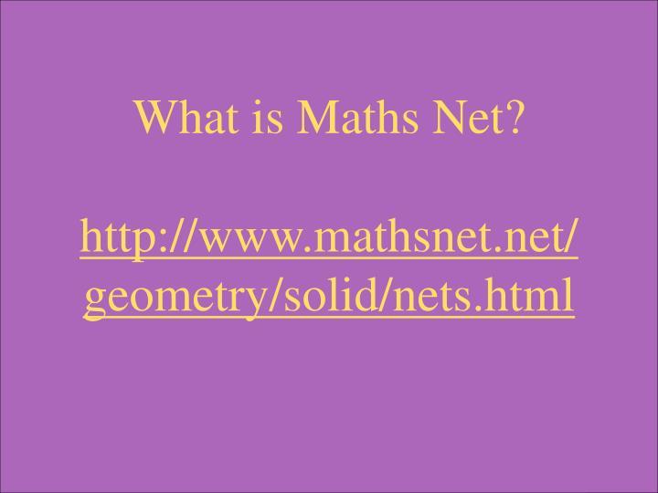 What is Maths Net?