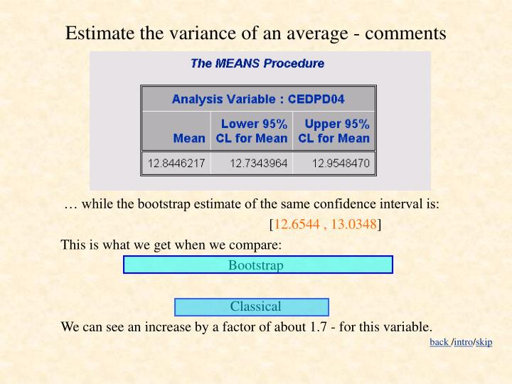 Estimate the variance of an average - comments