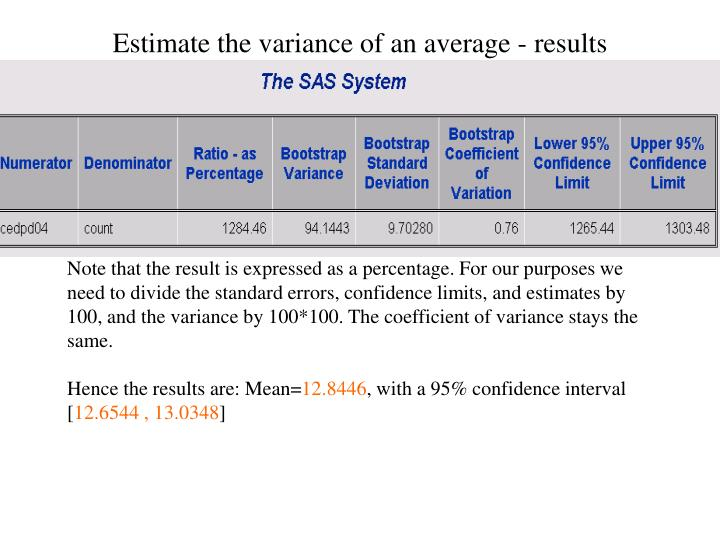 Estimate the variance of an average - results