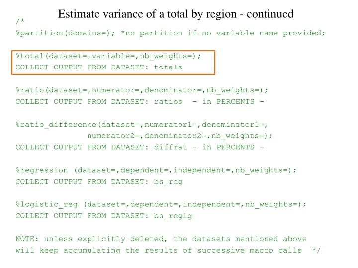 Estimate variance of a total by region - continued