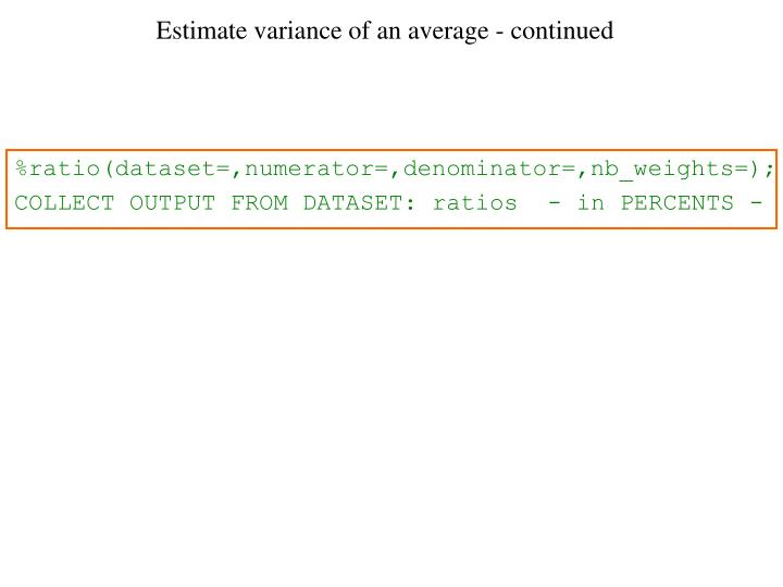 Estimate variance of an average - continued