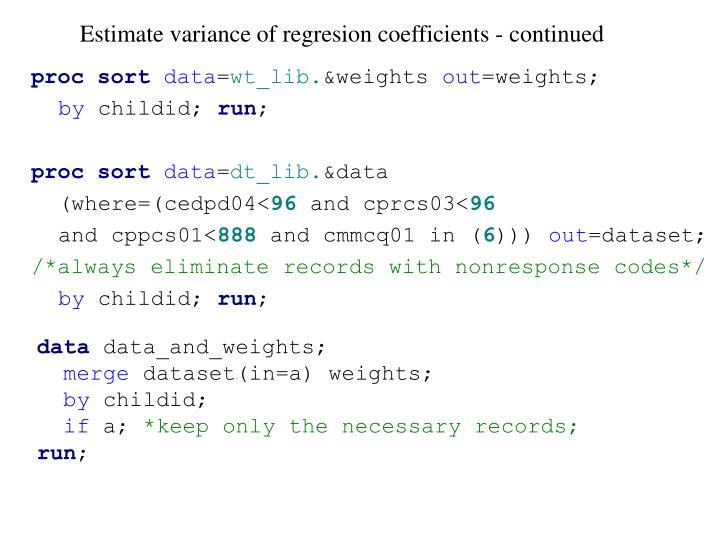 Estimate variance of regresion coefficients - continued