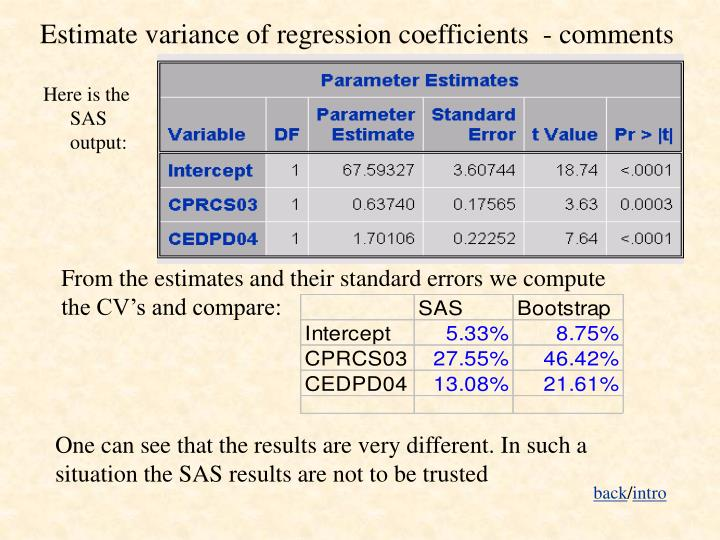 Estimate variance of regression coefficients  - comments