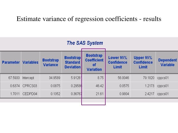 Estimate variance of regression coefficients - results