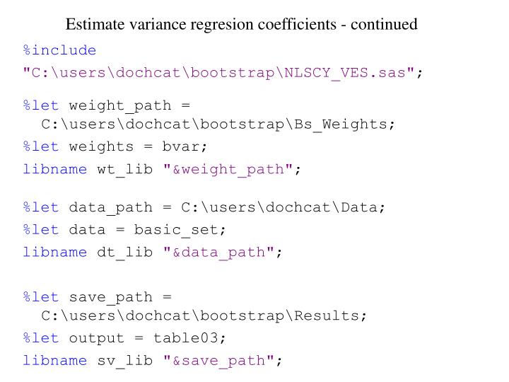 Estimate variance regresion coefficients - continued