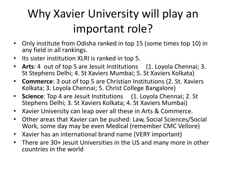 Why Xavier University will play an important role?