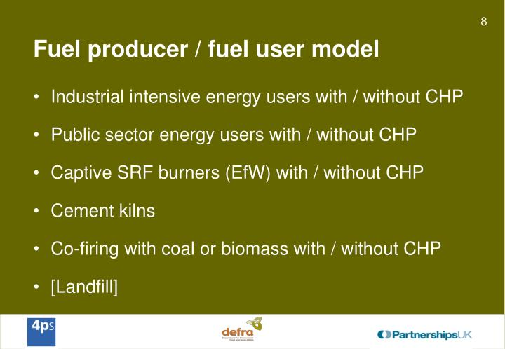 Fuel producer / fuel user model