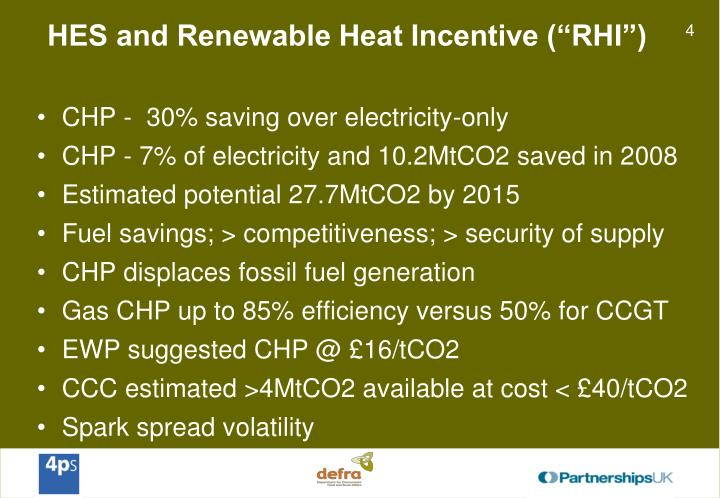 "HES and Renewable Heat Incentive (""RHI"")"