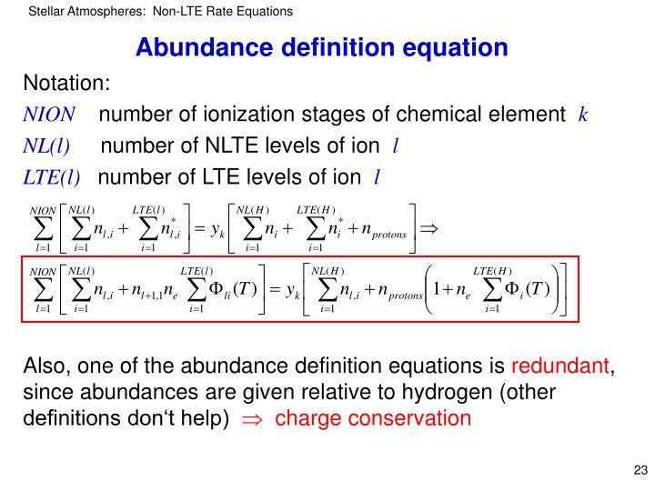 Abundance definition equation