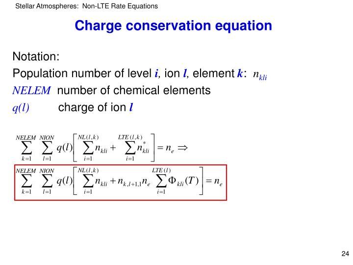 Charge conservation equation