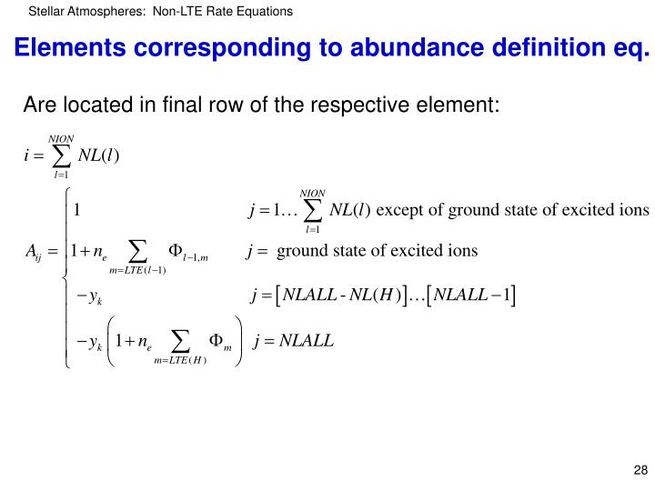 Elements corresponding to abundance definition eq.