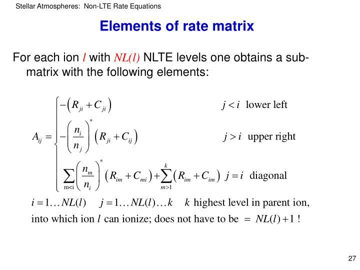 Elements of rate matrix