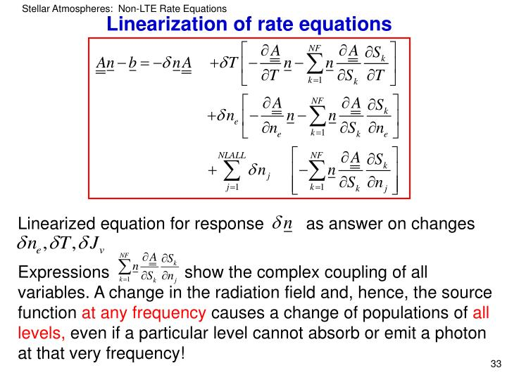 Linearization of rate equations
