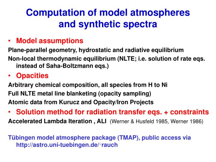 Computation of model atmospheres and synthetic spectra