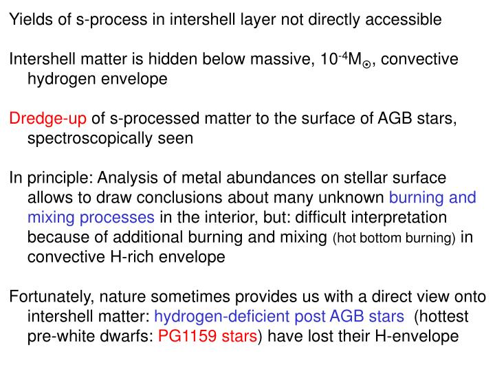 Yields of s-process in intershell layer not directly accessible