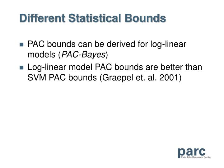 Different Statistical Bounds