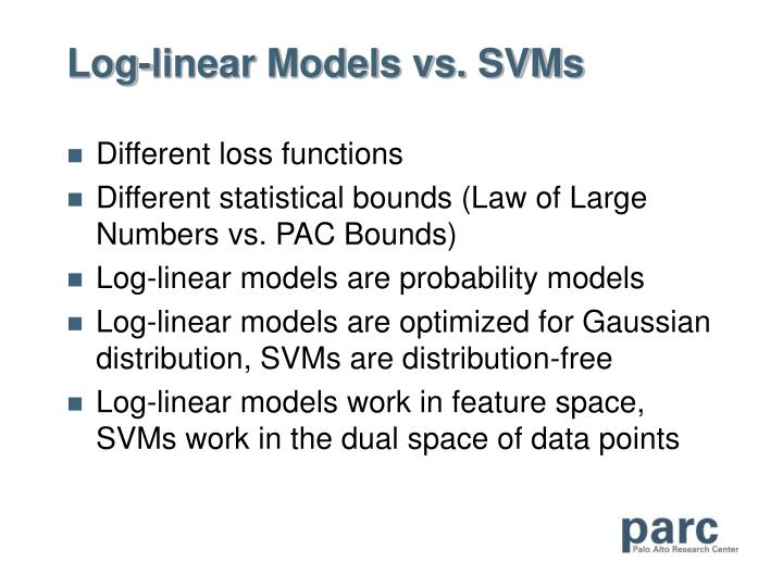 Log-linear Models vs. SVMs