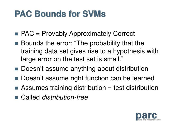 PAC Bounds for SVMs