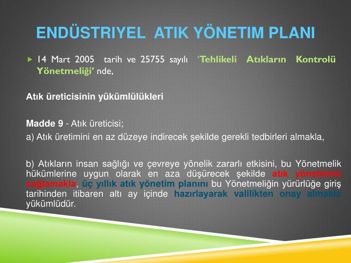 Endüstriyel  Atik yönetim