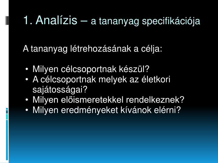 1. Analízis –