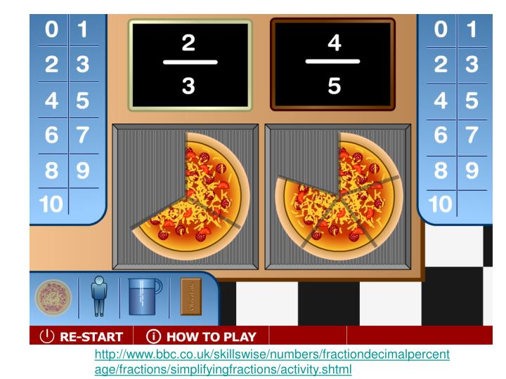 http://www.bbc.co.uk/skillswise/numbers/fractiondecimalpercentage/fractions/simplifyingfractions/activity.shtml