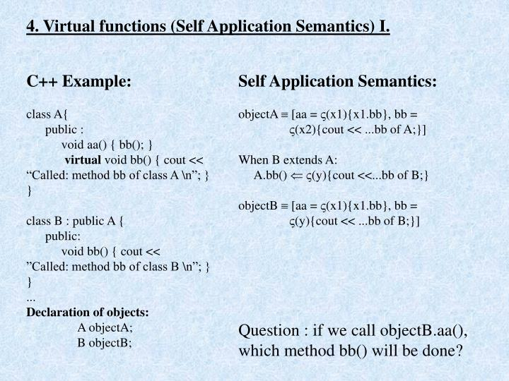 4. Virtual functions (Self Application Semantics) I.