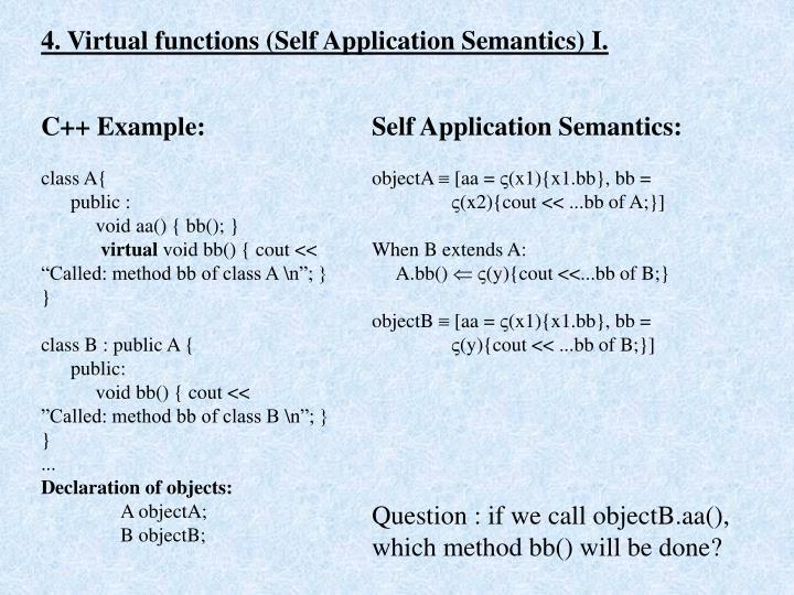 4. Virtual functions (Self Application Semantics) I.