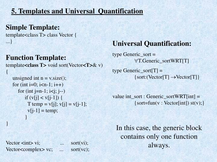 5. Templates and Universal Quantification