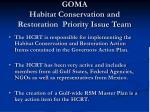 goma habitat conservation and restoration priority issue team