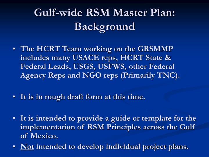 Gulf-wide RSM Master Plan: