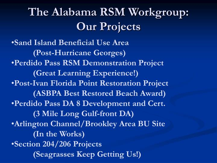 The Alabama RSM Workgroup: