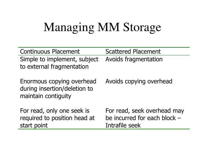 Managing MM Storage