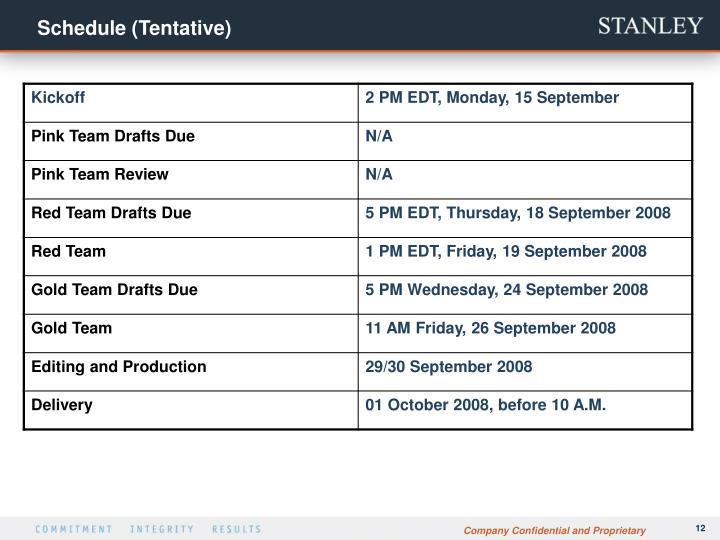 Schedule (Tentative)