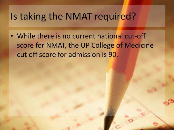 Is taking the NMAT required?