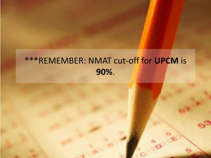 ***REMEMBER: NMAT cut-off for