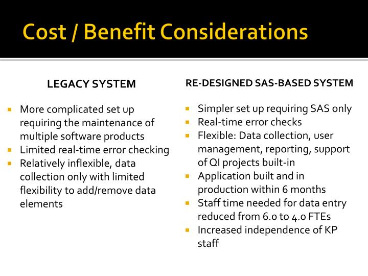 Cost / Benefit Considerations