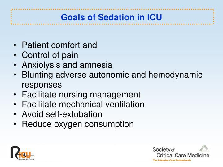 Goals of Sedation in ICU