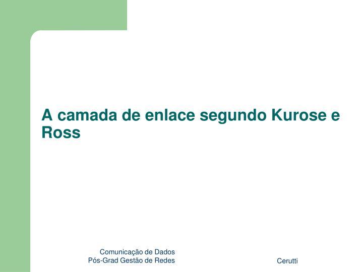 A camada de enlace segundo Kurose e Ross