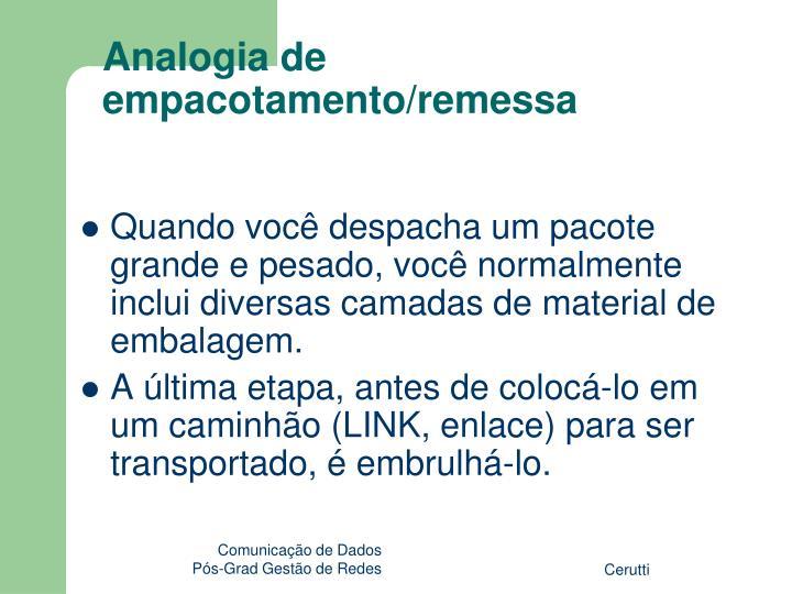 Analogia de empacotamento/remessa
