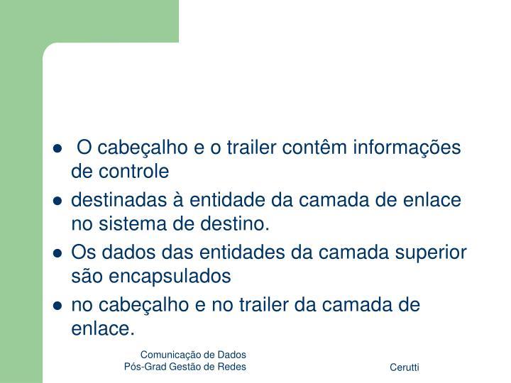 O cabeçalho e o trailer contêm informações de controle