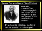 law of conservation of mass matter