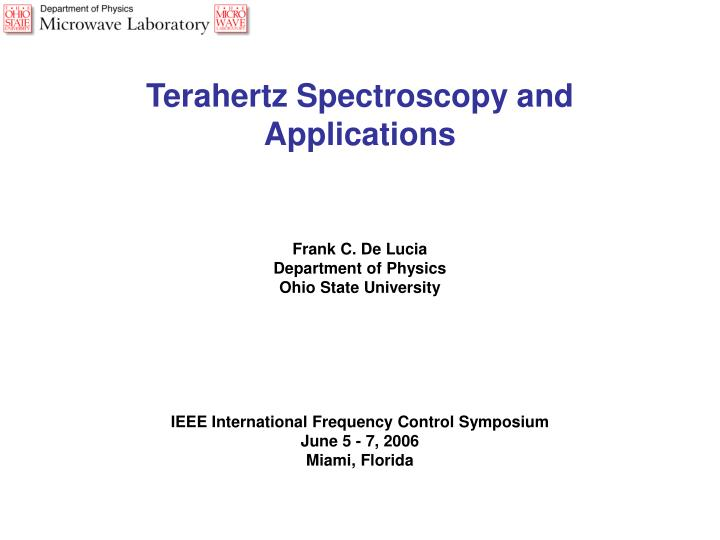Terahertz Spectroscopy and Applications
