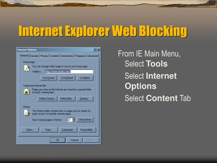 Internet Explorer Web Blocking